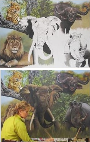 A Big 5 painting commissioned by the Gauteng Department of Agriculture, Conservation and Environment.
